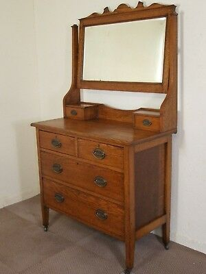Antique Edwardian Golden Oak Dressing Table Chest Free Deliv In 100 Mls Of Perth