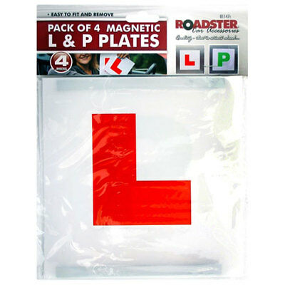 L Plates & P PLates For Learner Driver Car Pack Of 4  Magnetic - UK Seller