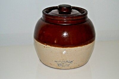 Vintage Robinson Ransbottom Blue Crown Stoneware Bean Pot #2 with cover