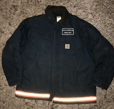 CARHARTT Mens Sz 52 R Vintage Canvas Jacket Quilted Lining Reflective