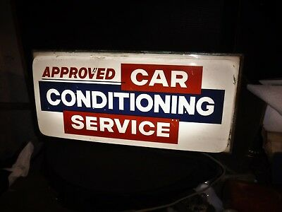 Vintage 50s60s APPROVED CAR CONDITIONING SERVICE Lighted Sign Gas Station dealer