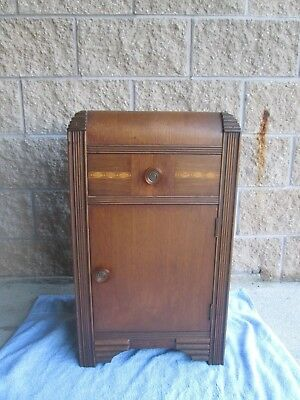 1930`S 40s ART DECO WATERFALL NIGHTSTAND END TABLE w/ CABINET & DRAWER
