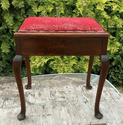 Antique Vintage Storage Box Piano Stool With Lift Up Lid *