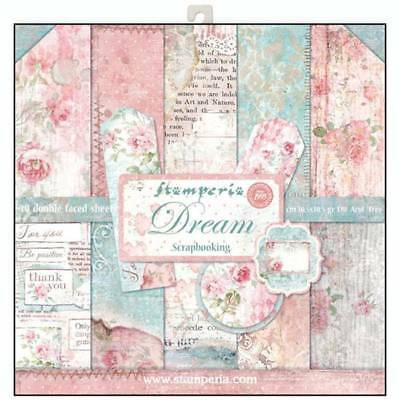 Stamperia Dream 12 x 12 Paper Pack Pinks Blues Tags Toppers Flowers Sentiments
