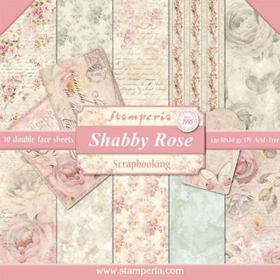Stamperia Shabby Rose 12 x 12 Paper Pack Flowers Butterfly Postcard Letter
