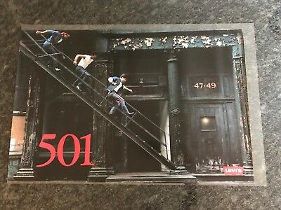 Vintage Levi's Strauss 501 Denims Advertising Poster Authentic 1980's