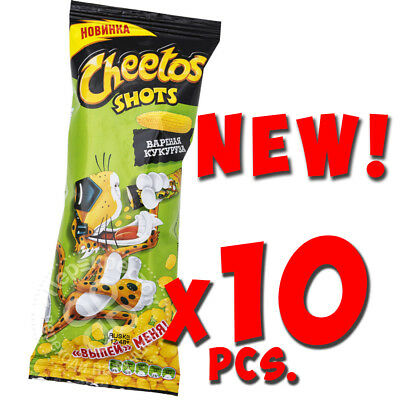 NEW Cheetos SHOTS Crunchy Chips Puffs Cheese BOILED CORN Flavored 10*18g(1oz)