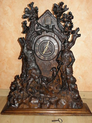 antique CUCKOO CLOCK Antik Kuckucksuhr Carved Case wood BLACK FOREST