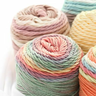 100grams Cushion Rainbow Color Crochet Knitting Hand-woven Wool Yarn Cotton