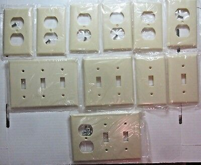 Vintage Lot 11 Eagle Ivory Bakelite Single Wall Plates Covers Switch Outlet Gang