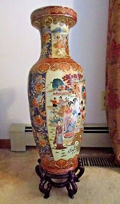 Vintage Large 24 Chinese Floor Vase Hand Painted Wood Stand Pickup Only Nj