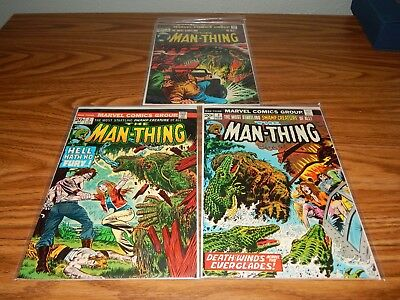 """RUN Lot Of THREE Bronze Age Comics """"The Man-Thing"""" #'s 2,3 & 4 FN+ Condition"""