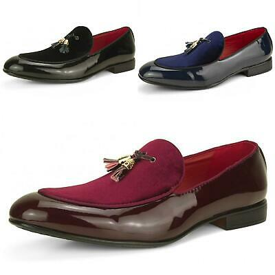Men's Slip On Tassel Loafers Suede Leather Shiny Patent Smart Wedding Shoes UK