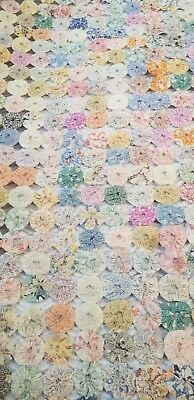 COTTAGE CHIC~ ANTIQUE HANDMADE MULTI COLOR YOYO QUILT 5x5-1/2' (60x66) ♡♡♡