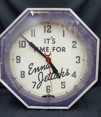 Vintage It's Time For Enna Jetticks Octagon Shape Neon Large Electric Wall Clock