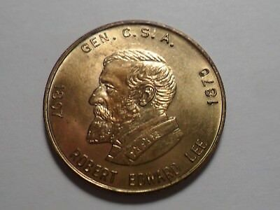 """robert E Lee"" General Csa Brass Token Obverse ""bust"" + Reverse Life-Events!"