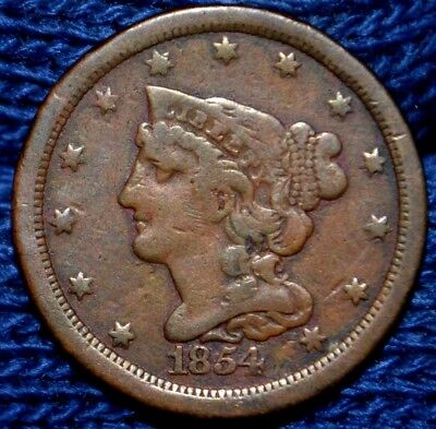 1854 HALF CENT**VF**Nice Brown Color
