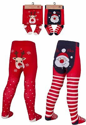 BABY GIRL CHRISTMAS TIGHTS - SANTA - REINDEER - 0 - 24 months