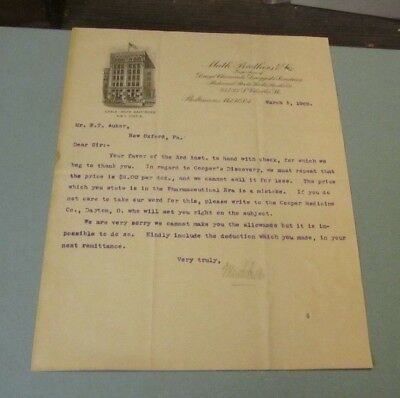 1909 Muth Brothers Drugs & Chemicals Medicines Advertising Letter Baltimore MD