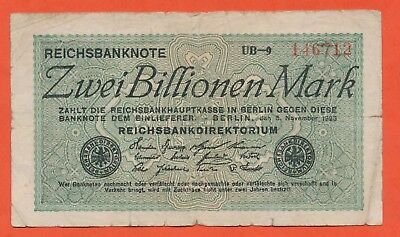 Zwei Billionen Mark Reichsmark  Reichsbanknote  Ro 132b Pick 135 1923 Inflation
