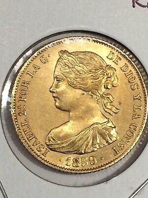 1859 Spain 100 Reales Gold Coin
