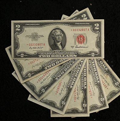 """Seven (7) Nice Series 1953 $2 Red Seal """"STAR"""" Notes!!  ONe VG the rest VF/XF"""