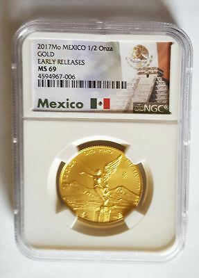 2017 Mexico 1/2 oz .999 Gold Libertad NGC MS-69 Early Releases, Only 700 Minted!
