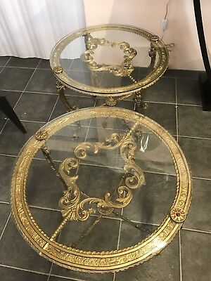 Pair French? Gilt And Glass Side Tables