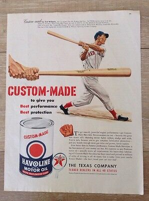 Vintage Ad Classic Print Advertisement Texaco Havoline Motor Oil Ted Williams