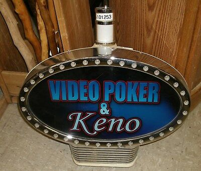 Collectible Video Poker & Keno Slot Topper w Lighting + Mounting Base & Candle