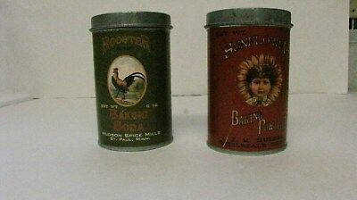 Vintage Rooster Baking Soda & Sunflower Baking Powder Tin Cans