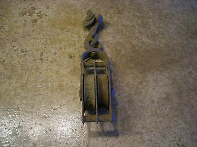 Antique Vintage Primitive Steel  Forged double Pulley Block and Tackle