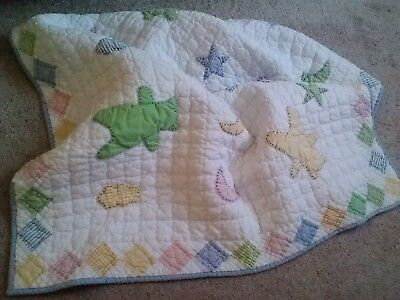 Hand Quilted Patchwork&embroidery Cotton Quilt Baby Blanket-36X45-Adorable