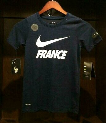 3ddd1d9f9414 NIKE KID S (YOUTH) Dry FFF France Graphic Soccer T-Shirt Navy White ...