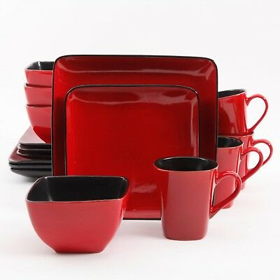 Better Homes Gardens Rave 16-Piece Square Dinnerware Set, Red