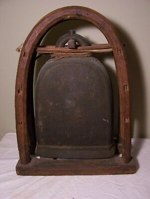 antique  Cast Bronze Karen Hill Tribe Elephant Bell, Thailand, huge, with stand