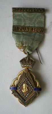 1897 Queen Victoria Diamond Jubilee Masonic jewel with scarce 14 June 1897 bar