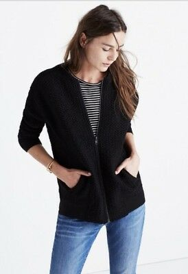 Madewell Boyfriend Fit Textured Wool Blend Bomber Zip Up Jacket Black M