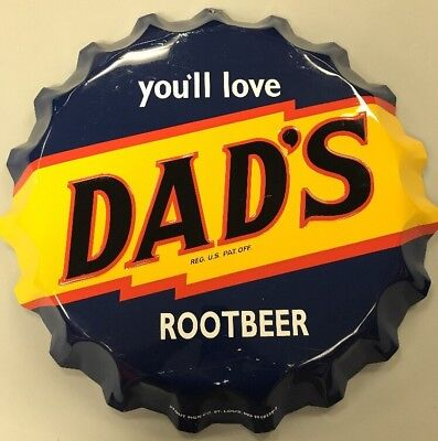"Vintage Dad's Root Beer Soda Bottle Cap Metal Sign - 22"" Wide - ~1970's"