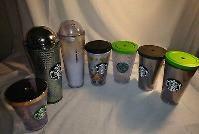 Lot of 7 Starbucks cold drink Travel Tumblers with lids