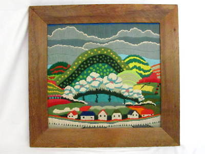 Vtg Completed Needlepoint Rolling Colorful Hills Houses Weathered Wood Frame