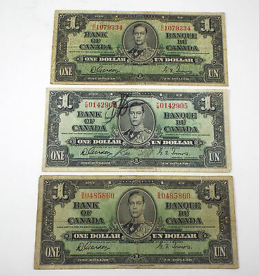 Lot of 3 1937 Bank of Canada 1 Dollar Note - Gordon/Towers - E/L F/M S/A