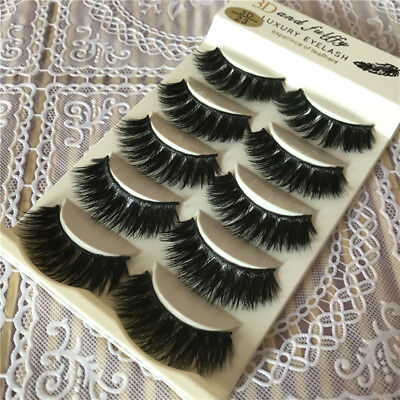 5 Paires 3D Naturel Bushy Croix Faux Cils Faux Mink Eye Lashes Noir Maquillage