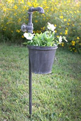 Primitive Iron Faucet Garden Stake with Planter Yard Lawn Ornament Outdoor Decor
