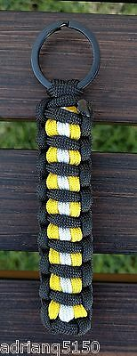"""Paracord """"Bunker Turnout Gear"""" Keychain (Black)"""
