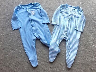 2 x Cute & Cuddly Baby Blue Sleepsuits (0-3 months)