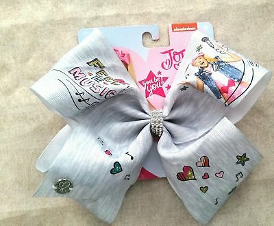 Nwt Signature Authentic Jojo Siwa Feel The Music Graphic Heather Gray Bow Cheer