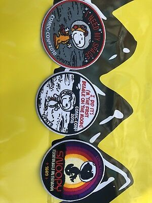 2018 Sdcc Exclusive Peanuts Snoopy 3 Patch Set Charlie Brown Comic Con
