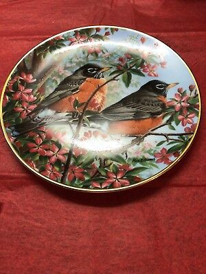 Robins In Spring By Marc R Hanson Collector Plate