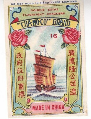 """Chinese Firecracker Label """"Cha-Mo-Co"""" Brand; Ship, flower topical; Excel. Cond*d"""